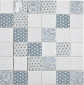 Glas Mosaik Eco Blau Weiss Wand Kuche Bad Fliesenspiegel 16 0104 F 10