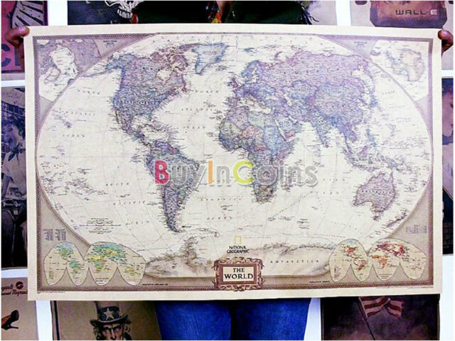 70x 45cm Home Office Vintage World Map Earth Poster Wall Chart Room Sticker