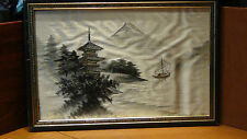 ANTIQUE 19C JAPANESE SILK EMBROIDERY OF PALACE ,FUJI AND BOAT ON WATER,FRAMED #1