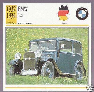 1932 1933 1934 BMW 3/20 German Car Photo Spec Sheet Info Stat French Atlas Card   eBay