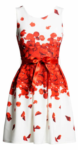 NEW AMAL CLOONEY INSPIRED ITALIAN DESIGNER RED FLORAL PETALS DRESS SIZE 8 10 12