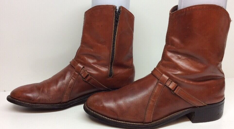 MENS UNBRANDED COWBOY LEATHER BROWN D BOOTS SIZE 9.5 D BROWN 1e0b99