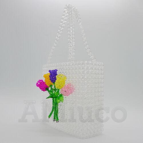 weefkunst kristallen kralen acryl koppeling handtas Dames zak handgemaakte vruchten Tote A54LjqR3