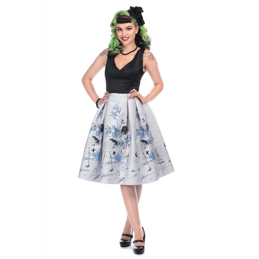 Collectif Vintage Blau schwarz Claudia Crane Border Swing Dress
