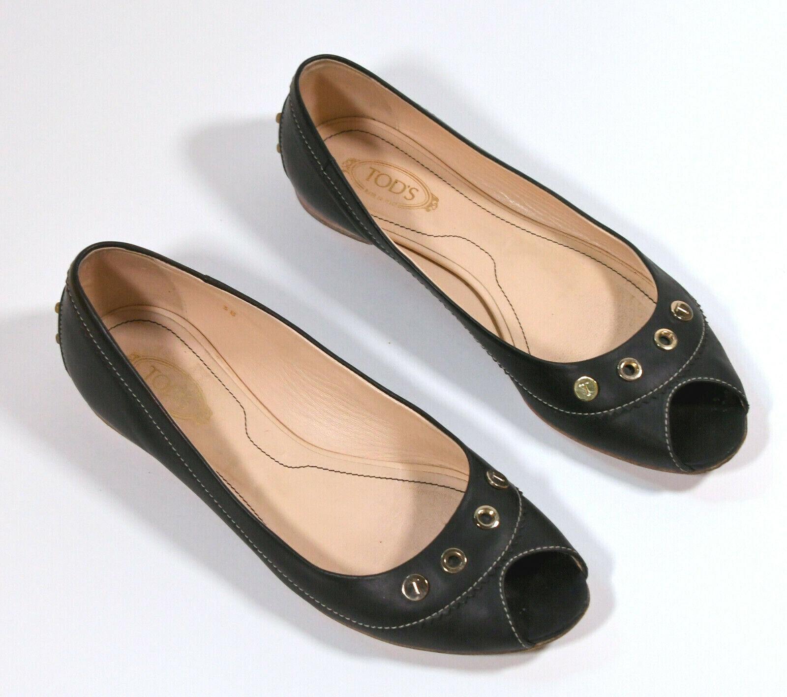 TOD'S Tods Sandaletten Mules Pantoletten Ballerina Peeptoes negro 38 Leder