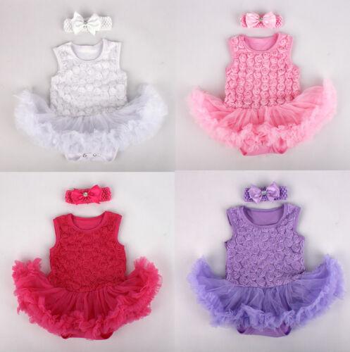2PCS Infant Newborn Baby Girls Headband+Romper Bodysuit Tutu Clothes Outfit Set