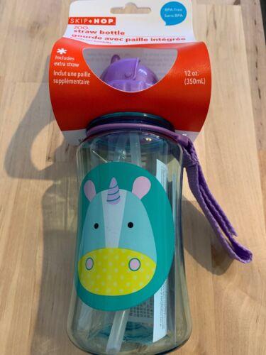 Skip Hop ZOO STRAW BOTTLE NEW UNICORN Kids Straw Pop-Up Drinking Bottle 12m