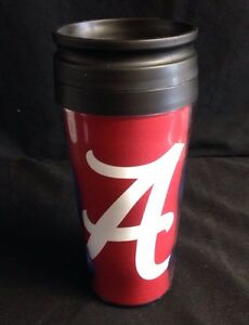 University of Alabama Crimson 16oz Travel Mug with White Script A
