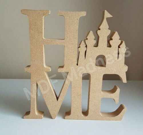 18MM FREE STANDING 20CM HIGH MDF CRAFT SHAPE HOME WITH PRINCESS CASTLE