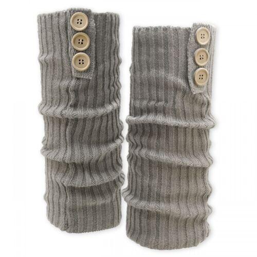 superweiche Grobstrick Bein Stulpen mit Knöpfen Beinwärmer blau grau schwarz