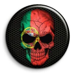 Skull crâne Portugal drapeau - Badge Epingle 38mm Button Pin