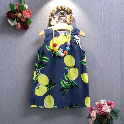 Kids Toddler Baby Girls Sleeveless Dress Casual Lemon Printed Sundress Clothes