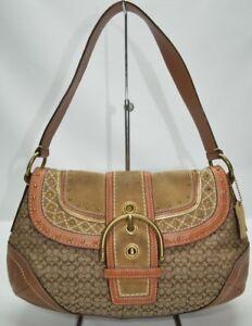 coach soho studded suede canvas mini signature buckle flap satchel rh ebay com