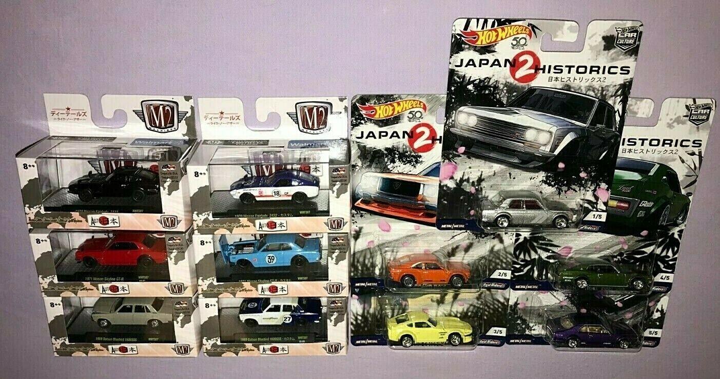 HOT WHEELS JAPAN HISTORICS 2 + M2 AUTO JAPAN DIE CAST LOT OF 11 NEW