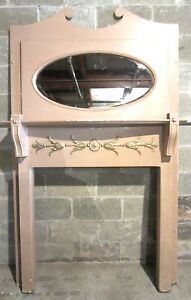TALL-ANTIQUE-CARVED-OAK-FIREPLACE-MANTEL-OVAL-MIRROR-ARCHITECTURAL-SALVAGE