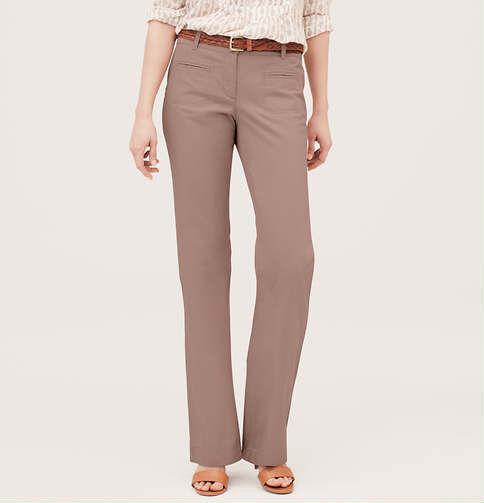 Ann Taylor LOFT Cotton Linen Canvas Trouser Leg Pants in Marisa Fit Various Colo