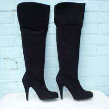 e5831e7fb Faith Solo Suede Leather Boots Sz Uk 6 Eur 39 Platform Black Thigh High Pull  on