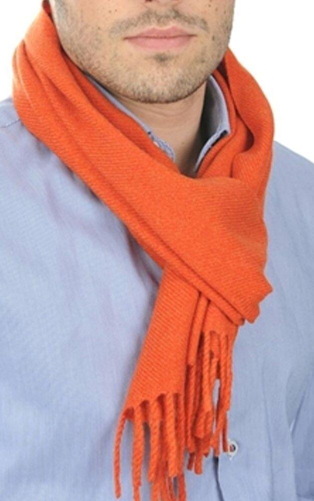 Balldiri 100% Cashmere Kaschmir Schal 170 x 25 cm 4-fädig gewebt dunkel orange