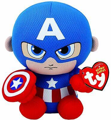 Ty Beanie Babies Supereroe Marvel-capitan America - 15cm + Regalo Vescicole-en It-it