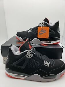 brand new a0386 e1e47 Details about NIKE AIR JORDAN RETRO 4 BLACK CEMENT GREY FIRE RED SIZE 12