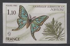 """FRANCE YVERT 2089 SCOTT 1708 """" GRAELLSIA ISABELLAE IMPERF 1980 """" MNH VVF M096"""