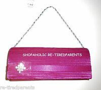Buoux Terner Clutch Purse Optional Silver Chain Strap – Pink Satin - Small -