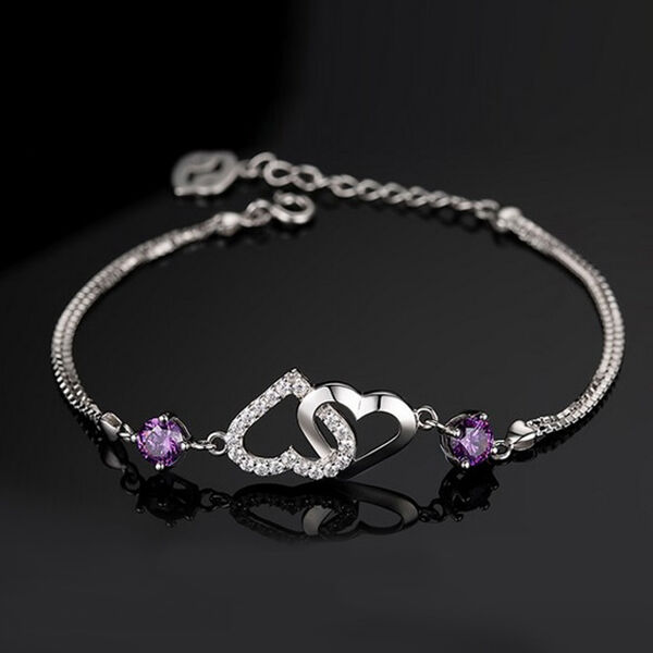 Hot Women 925 Sterling Silver Double Heart Purple Crystal Chain Bracelet Gift
