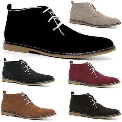 Mens Faux Suede Desert Boots Branded Lace Casual Ankle Chukka Fashion Shoes Size