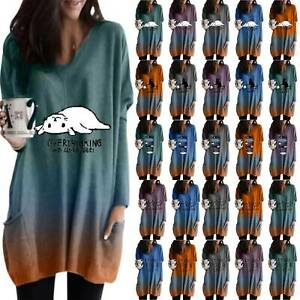 Women-039-s-Gradient-Long-Sleeve-V-Neck-T-Shirt-Loose-Baggy-Casual-Tunic-Tops-Blouse