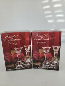 2-Boxes-of-Vintage-Collectible-Indiana-Glass-6-034-Paneled-Crystal-Candlesticks-NIB