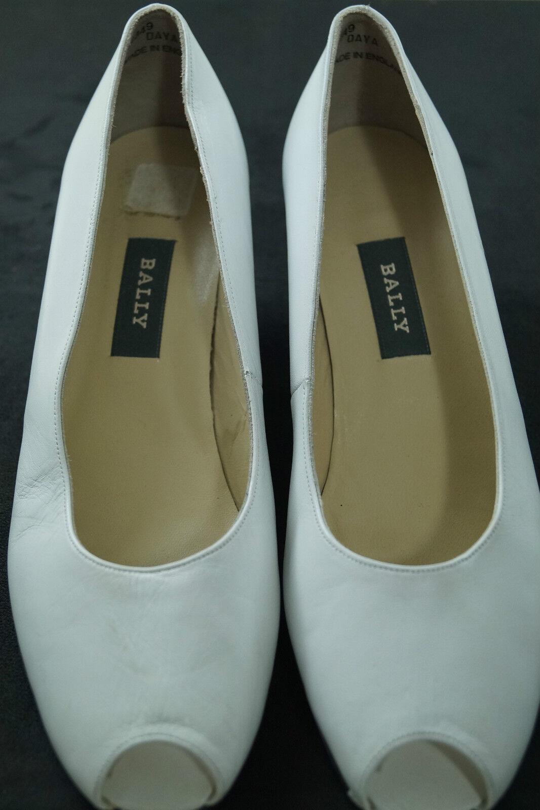 BALLY Switzerland  Daya  Peep Toe Court chaussures blanc Pumps Wedding Prom Taille 7C