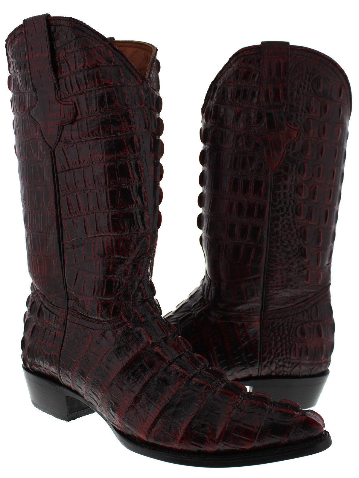 Cereza Negra Para Hombres Patrón de cola de cocodrilo Completo botas de vaquero occidental J del dedo del pie
