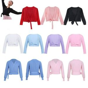 Girls Kids Knitted Long Sleeve Cardigan Wrap Top Ballet Dance Gymnastics Costume