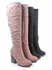 """01e48b729d4 BAMBOO 2 Color Faux Suede Side Zip Open 3.5"""" Heels Womens Knee High ..."""