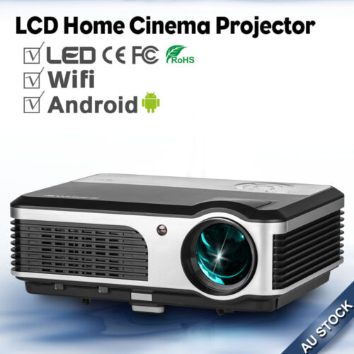 1 of 1 - 1080p LED Projectors Android Wif Online Home Cinema Movie USB HDMI VGA AU Stock