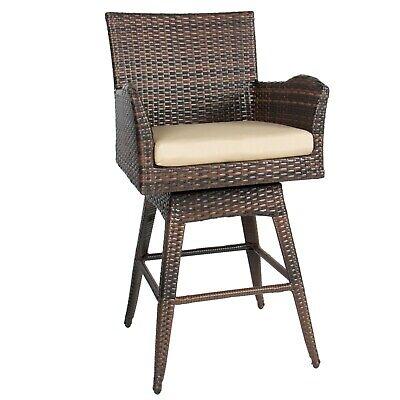 Patio Bar Stool Chair W Cushion Wicker