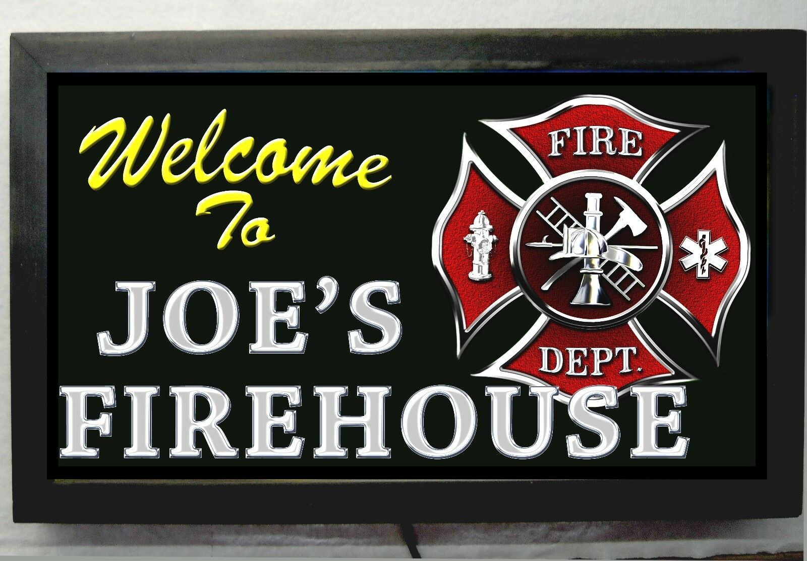 XL PERSONALIZED FIREMANS FIREHOUSE BAR sign LED LIGHTED SIGN REMOTE CONTROL