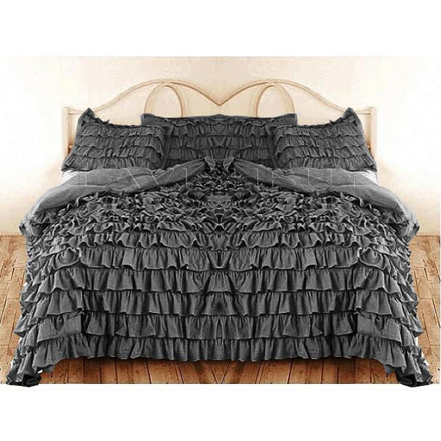 WATERFALL ELEPHANT GREY RUFFLED DUVET COVER BED SKIRT 1000TC  COTTON CHOOSE SIZE
