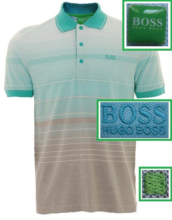 NWT Hugo Boss Green Label Fancy Stylish Stripe Logo Polo Shirt