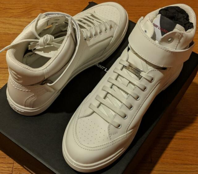 62e05f18cf5 $895 Mens Saint Laurent Leather Strap High-Top Sneakers White 43 US 10