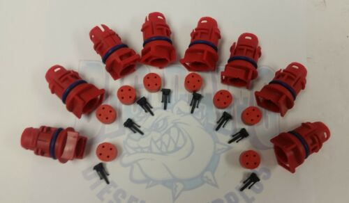 SET OF 8 2003-2010 FORD 6.0L DIESEL POWERSTROKE INJECTOR CONNECTOR PLUGS RED
