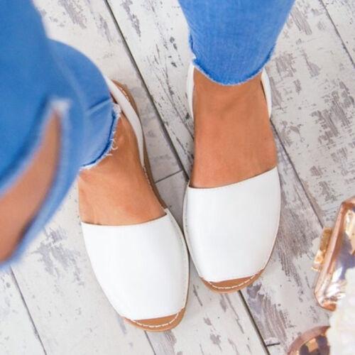 Damen Peep Toes Flache Sandalen Espadrilles Sommer Freizeitschuhe Vintage Schuhe