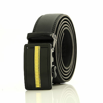 Automatic belt  black and gold steel buckle with thick black leather free ship