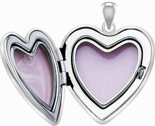 1in 925 Sterling Silver 2 Photo Heart Locket Diamond Accent Pendant Necklace