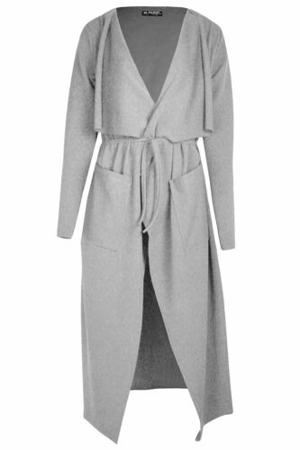 Womens Ladies Belted Collared Cape Wrap Over Pocket Trench Coat Duster Cardigan