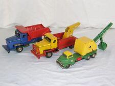 Lot of 3 Cragstan? SSS Japan  Tin Friction Power Shovel Dump & Tow Truck Toys