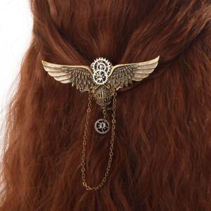 Vintage-Steampunk-Hair-Pin-Gear-Wing-Sheild-Hairpin-Medieval-Victorian-HairClip