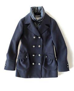 FAY navy wool peacoat with down bodywarmer - size S - manteau bleu marine