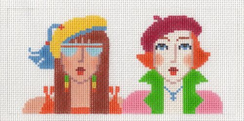 Two Girl Friends handpainted Needlepoint Canvas ~ BB Insert ~ 18 mesh by LEE