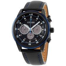 Citizen Eco Drive Black Dial Black Leather Strap Men's Watch CA403603E